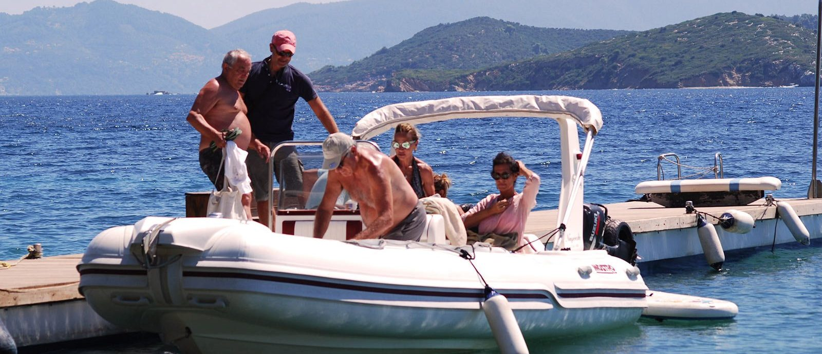 Boat Tris, with a RIB in SKiathos
