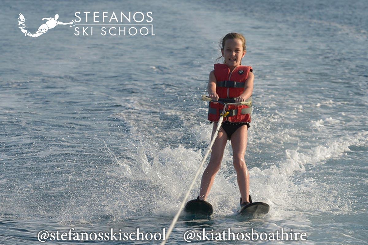 Kids learn to waterski in Skiathos